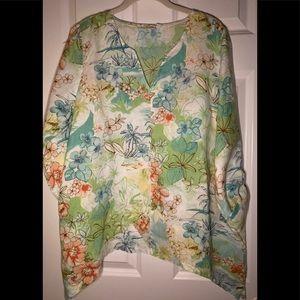EUC Hot Cotton floral 100% linen top.